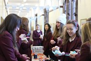 Girls flocked to post cards and buy treats at the Year 10 form rooms