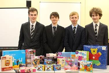 The Charities Committee with a selection of the donated toys