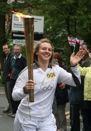 Rachel Flanders with the Olympic Torch
