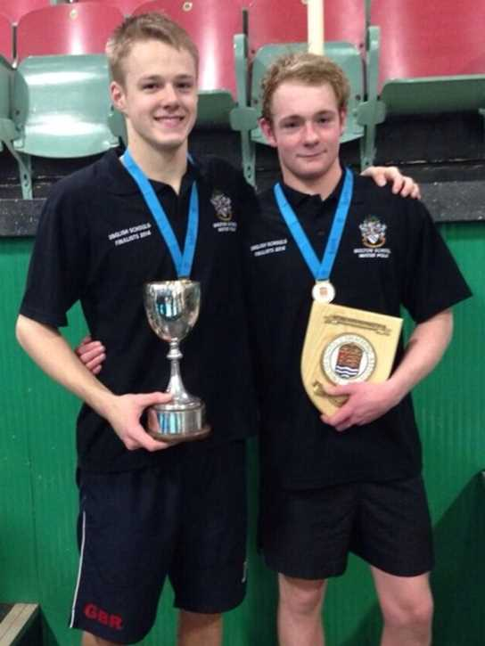 The victorious U18s teaCaptain Lewis Daly and Vice-Captain Aaron Winstanley with the U18s team trophiesm