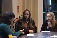Kathleen discusses options within Civil Engineering with some Bolton School girls