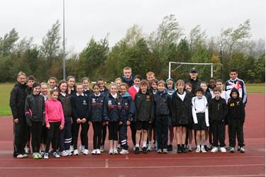 Bolton School pupils about to begin the World Marathon Challenge