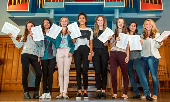 Results Day: a group of girls who achieved a high number of A and A* grades in their GCSEs