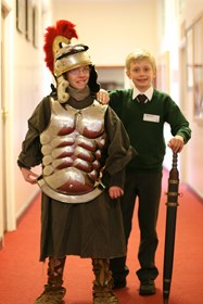 Girls and boys enjoyed trying on replica Roman armour