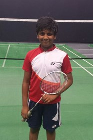 Karthik in his badminton kit
