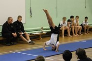 Gold medallist Luca performing his routine in the final