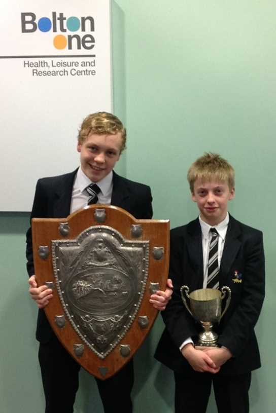 Team captains Andrew Mattison and Gareth Edwards-Williams with their trophies after the competition