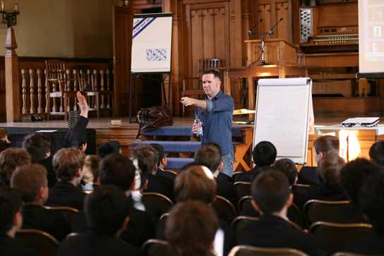Authors regularly visit the School - photographed here is Curtis Jobling offering a workshop to boys