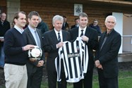 Keith Branagan, MP Jake Berry, Richard Morris, David Lee and Harry Lane open the new pavilion funded by the Football Association