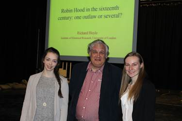 Professor Hoyle and Sixth Form girls at Bolton School