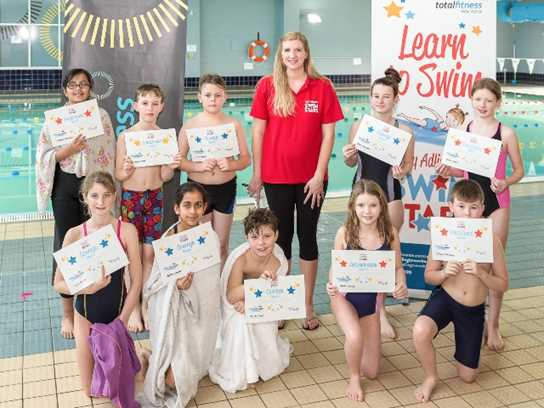 Rebecca Adlington with pupils who won special certificates at the Year 5/6 Gala