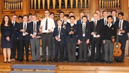 The Young Musician of the Year finalists with their trophies