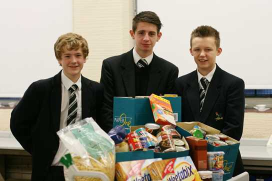 Year 9 pupils at Bolton School collected food items for the Wood Street Mission