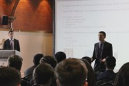 Alumni Anthony and David present a talk about KPMG and accountancy
