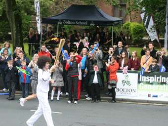 Olympic Torch Passes Bolton School