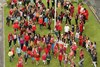 The Centre Quad filled with pupils for the record breaking Maasai dance