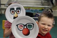 Children made funny face masks
