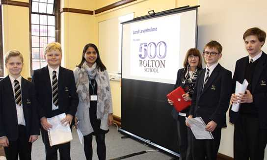 Mrs Patel and Mrs Haslam with the four Year 8 readers