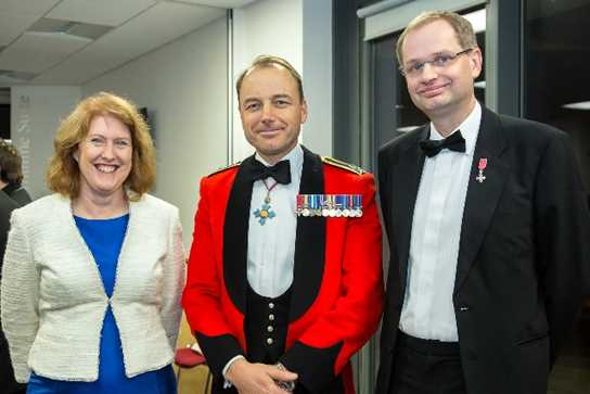 Headmistress Sue Hincks, Major General Skeates, and Headmaster Philip Britton