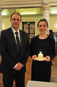 Bolton School pupil Holly Holt played the flute at Bolton Holocaust Memorial Day