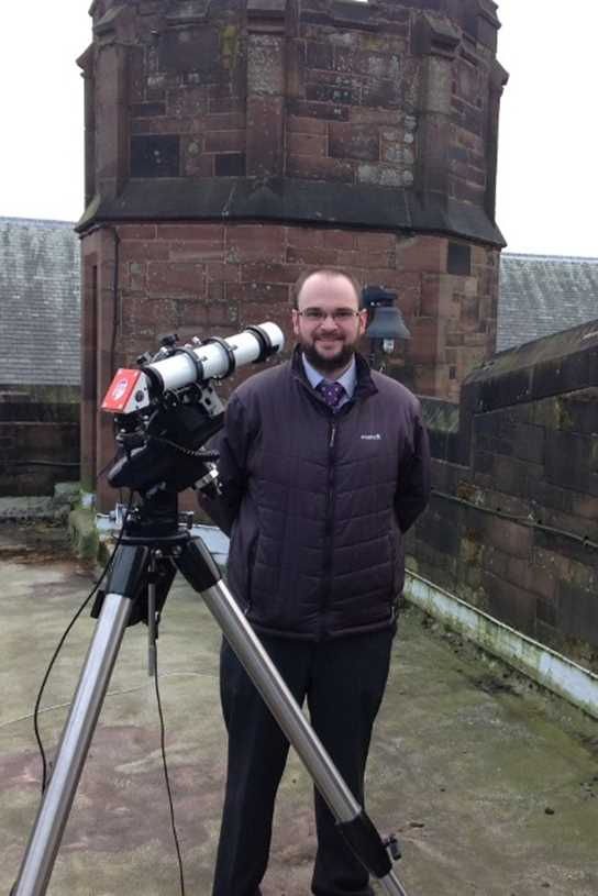 Mr Ickringill on the Turret Library roof with the Ogden Trust's solar telescope