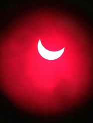 The eclipse, captured by Mr Chilton through one of the Bolton Astronomical Society telescopes