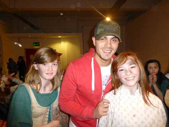 Bolton School pupil Alex Deakin with Max George from the Wanted