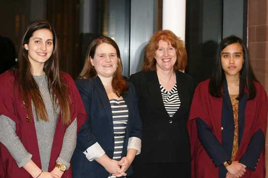 Dr Sarginson is welcomed back to Bolton School by the Headmistress and Deputy-Head Girls