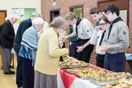 Evening guests enjoyed socialising at a buffet celebration