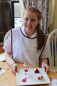 Round Four Star Baker Issy Plant with her twist on a traditional trifle