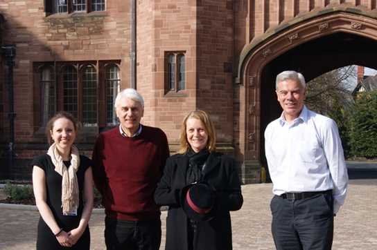 David and Nancy Hartshorn (centre), pictured with Laura Firth and school archivist Eric Fairweather