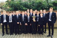 The U13 Water Polo team and Year 9/10 volunteers with the Manchester School Games trophy