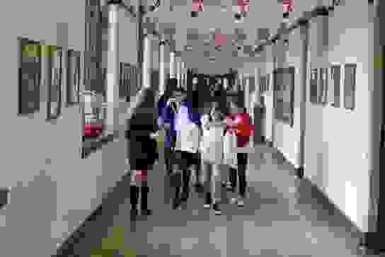 Girls move around the School following a treasure hunt trail on a voyage of discovery