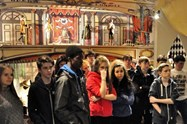Pupils viewing the costume exhibits at CNCS