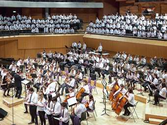 The Massed Orchestra performed the Medley alongside all of the School's choirs