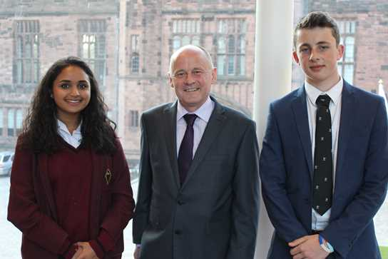 Alishi Maini and Aston Haslam are pictured with Mr Paul Griffiths, the D of E Regional Manager