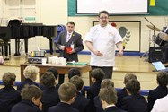 The boys enjoyed watching Andy Lagor cook up the staple maize-based meal