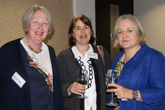 Former Head Girl Lesley Ainsworth chats with fellow alumni