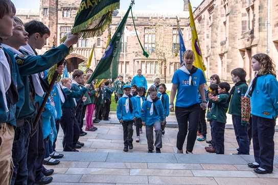 The Beavers, Cubs, Scouts and Explorers paraded into Bolton School