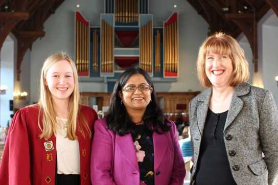 The May Serenade was attended by Councillor Sufrana Bashir Ismail, pictured with Head Girl Jess Melling and Headmistress Sue Hincks
