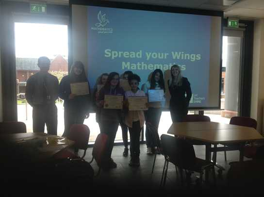 Delighted local Year 9 girls graduating from the Spread Your Wings programme