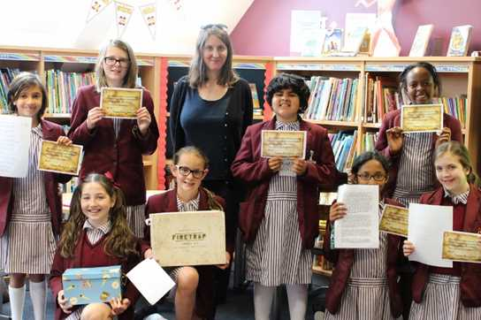 E. B. Colin with the Pyrate Writing Competition entrants