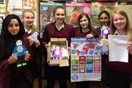 Some of the Year 9 girls with their messages and letter