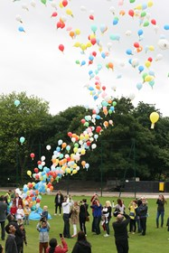 A midday balloon race signified the opening of the Bolton School Foundation