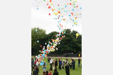 A midday balloon race signified the opening of the Bolton School Foundation's Family Festival