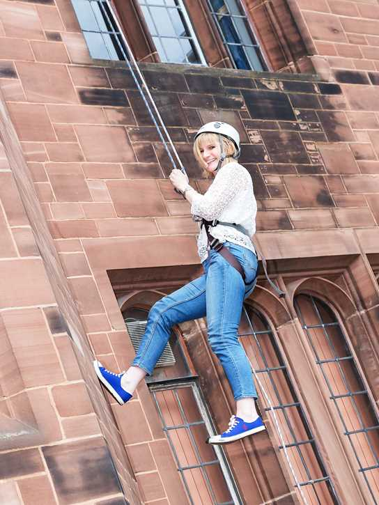 Abseiling down the School clock tower provided a diverting spectacle