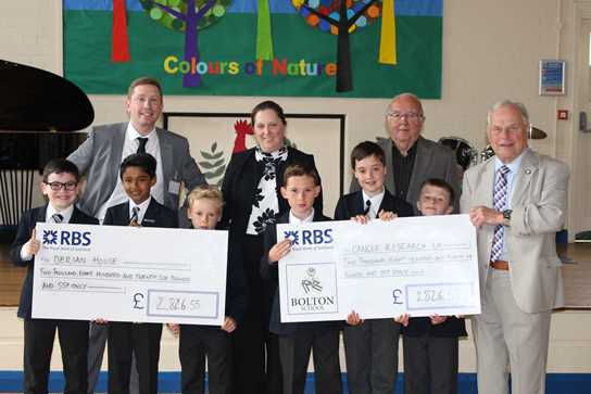 John Rullo of Derian House and Winston Banks and Jim Hall of Cancer Research UK receive cheques from the Junior Boys