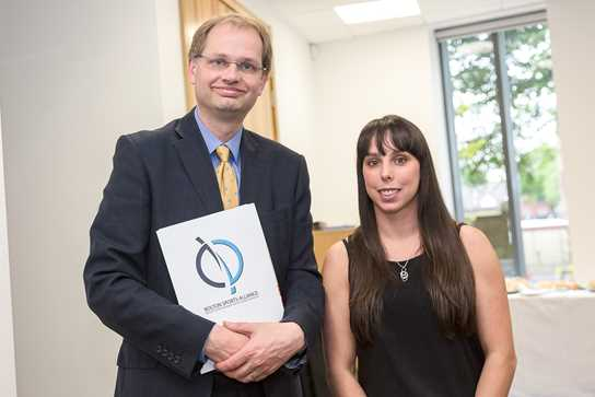 Headmaster Philip Britton welcomes Beth Tweddle to the School