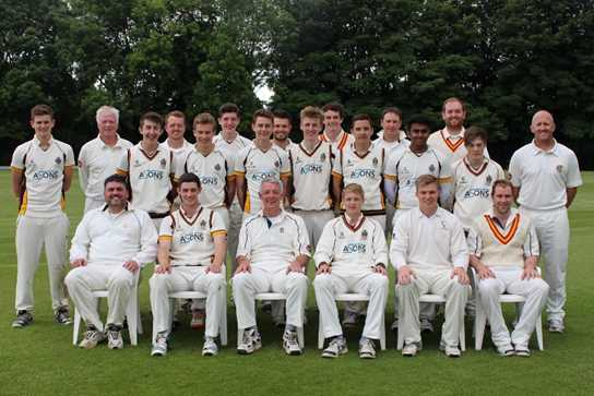 The First Eleven and MCC teams during the lunchtime break