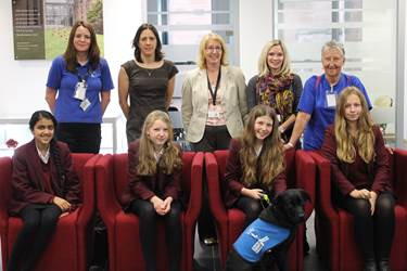 Girls at Bolton School are delighted to meet Peanut, the third guide dog that they have sponsored